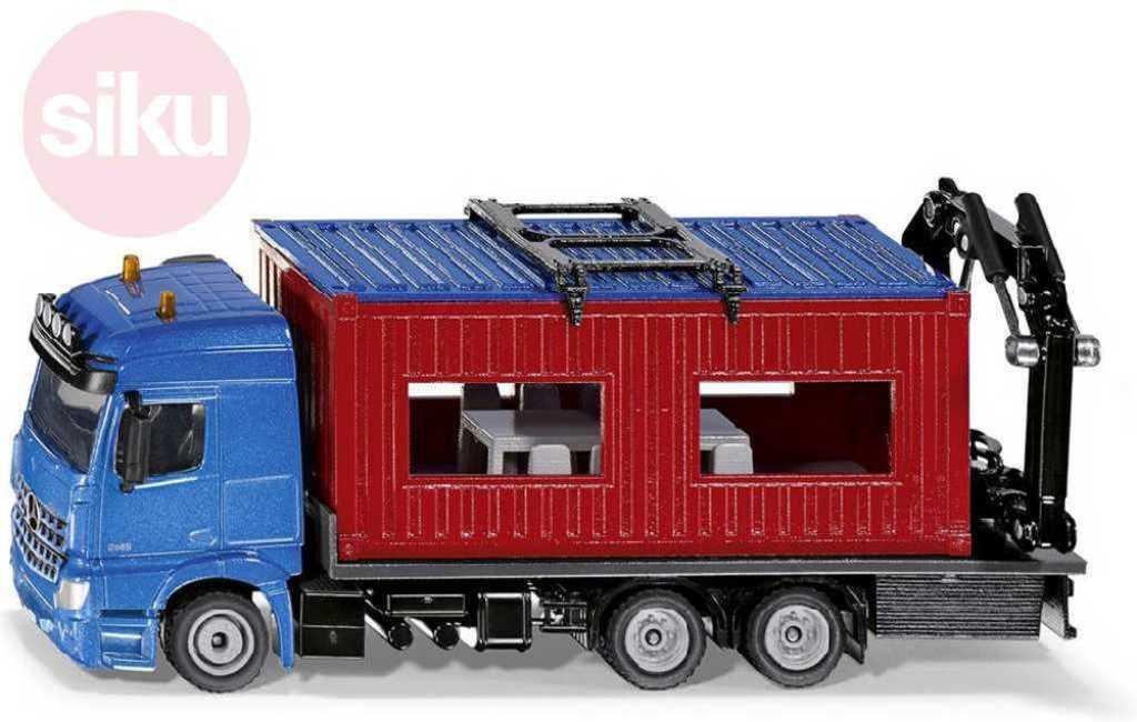 SIKU Auto kamion modrý Mercedes Benz Arocs set s kontejnerem model kov 3556