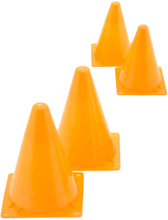 Kužel oranžový tréninkový set 4ks na sport plast