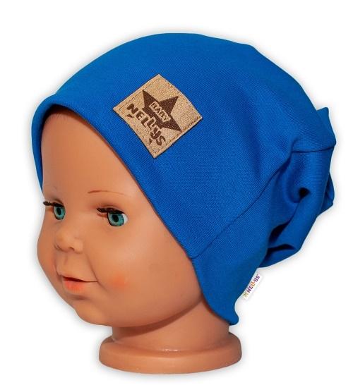 baby-nellys-hand-made-detska-funkcni-cepice-s-dvojitym-lemem-tm-modra-48-50-cepicky-obvod