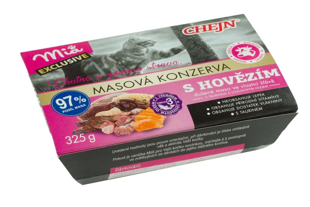 MIA s hovězím, taurinem a lososovým olejem vanička pro kočky 325 g