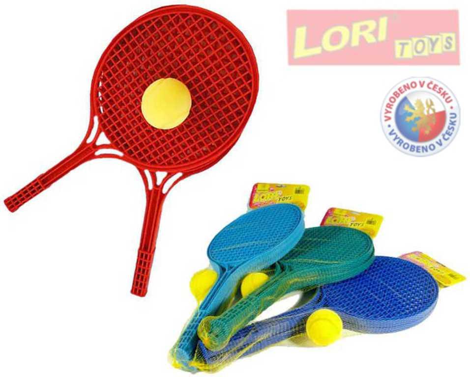 LORI 227 Set na soft tenis 2 barevné rakety a míček 4 barvy plast