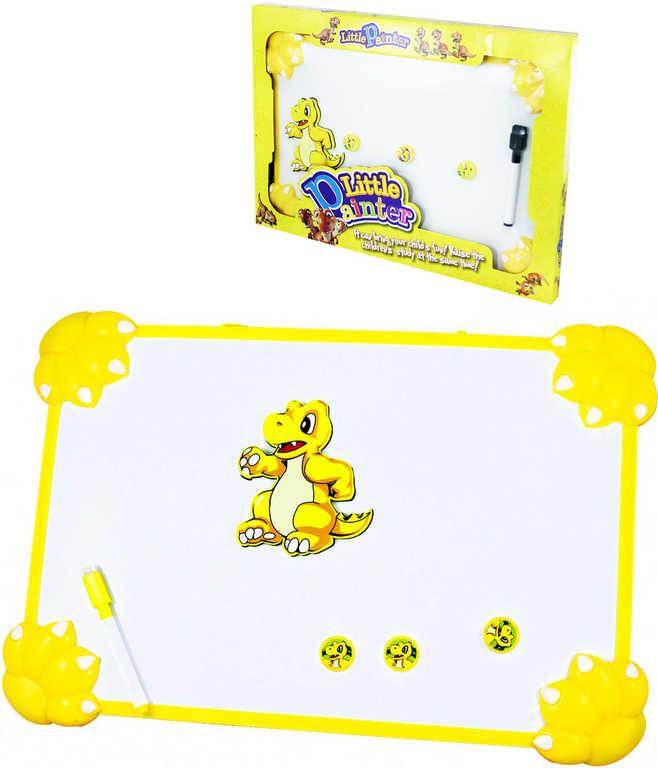 Tabulka dětská magnetická kreslící dino set se 3 magnetkami, fixou a houbičkou