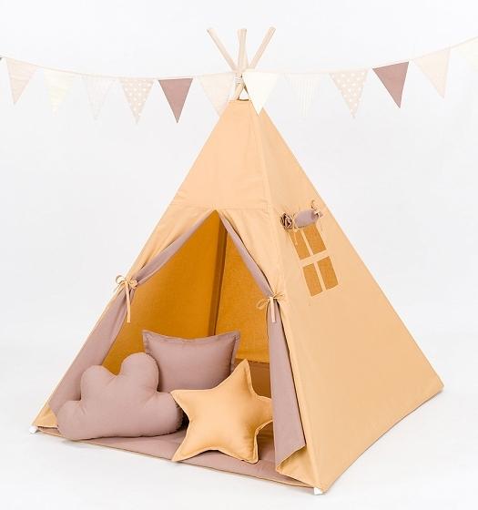 Stan pro děti teepee, týpí s výbavou medový/hnědý