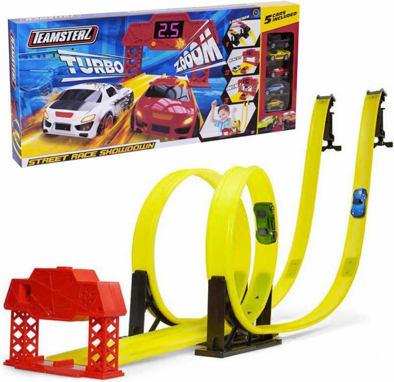Teamsterz Dráha závodní herní set s 5 autíčky na baterie v krabici