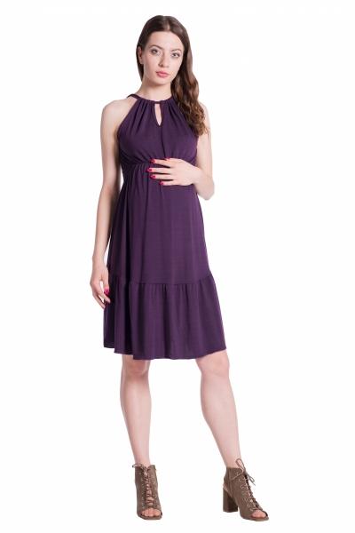 Letní těhotenské šaty na ramínkách - švestkové - UNI