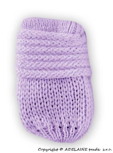 Zimní pletené kojenecké rukavičky - lila - 0-1rok