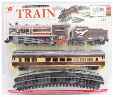 Vlak na baterie set lokomotiva + 2 vagónky s kolejemi na kartě Světlo Zvuk