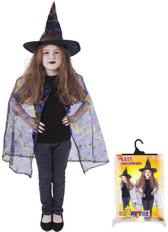 KARNEVAL Set čarodějnice plášť + klobouk pavučina (104-15 cm) 3-10 let KOSTÝM