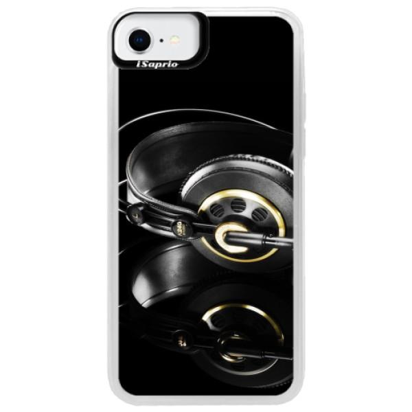 Neonové pouzdro Pink iSaprio - Headphones 02 - iPhone SE 2020