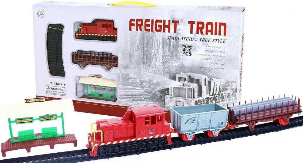 Vlak nákladní set 77ks s kolejemi a doplňky dráha na baterie Světlo plast