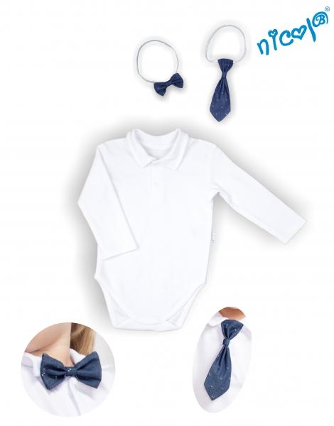 body-dlouhy-rukav-s-kravatou-a-motylkem-nicol-elegant-boy-bile-vel-92-92-18-24m