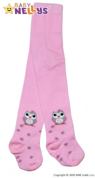 Bavlněné punčocháče Baby Nellys ® - Sovička růžové, vel.