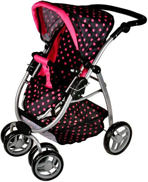 Kočárek Boncare M4 pro panenku miminko hluboký černý s růžovými puntíky 4v1