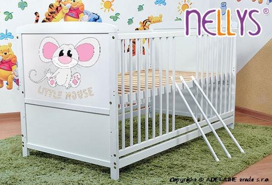 Dřevěná postýlka 2 v 1 Nellys Little Mouse - bílá/bílá, 120x60 - 120x60
