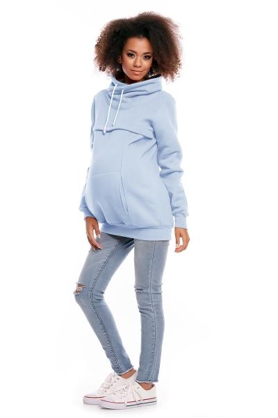 Be MaaMaa Těhotenská mikina s roláčkem DORA - světle modrá