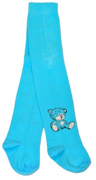 Bavlněné punčocháče Baby Nellys ® - Sweet Teddy - tyrkysové, vel. 80/86 - 80/86