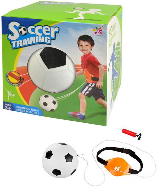 Míč vracející se fotbalový 19cm na gumě tréninkový set s pumpičkou v krabici