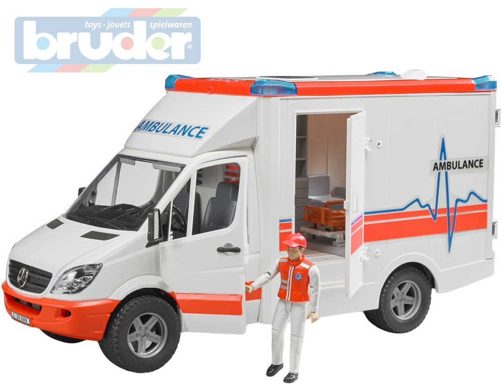 BRUDER 02536 (2536) Auto sanitka Mercedes Benz Sprinter set s figurkou model 1:16