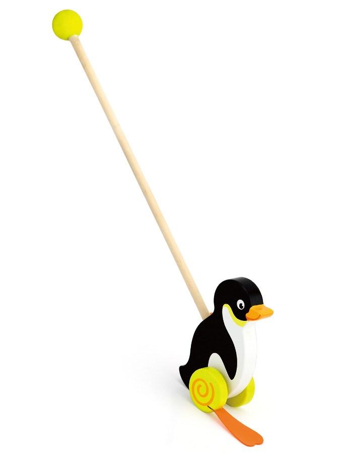 Dřevěná jezdící hračka Viga - tučňák - černá