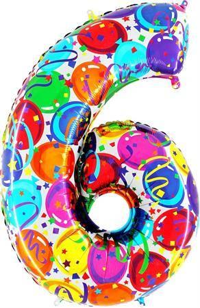 Nafukovací balónek číslo 6 barevné balónky 102cm extra velký