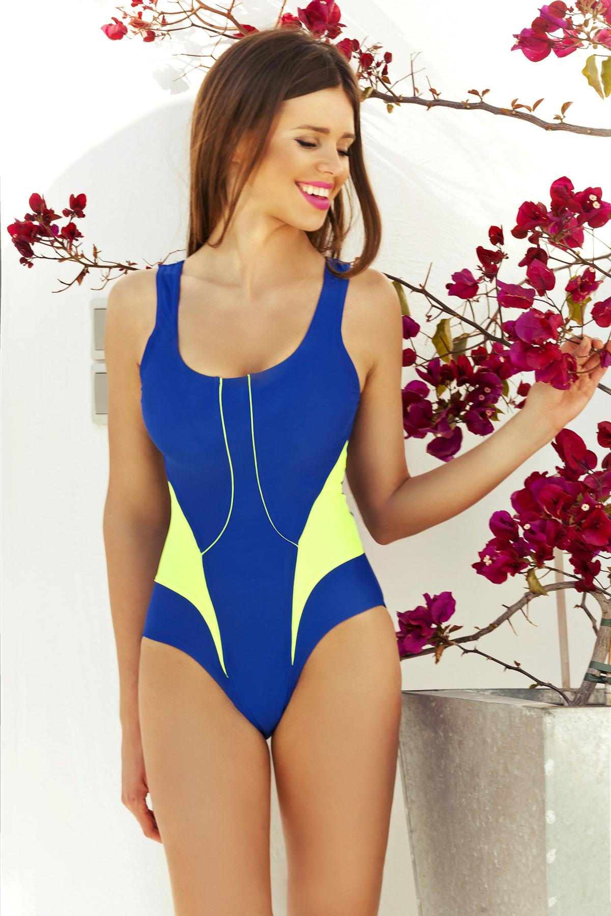f09736acf8a Dámské jednodílné plavky Nancy 2 - Eurofala - Modro-žlutá 36 empty