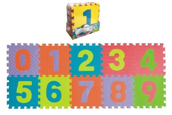 Pěnové puzzle čísla 0-9 podložka 25x25 (10ks)