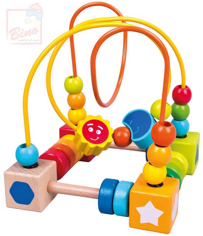 BINO DŘEVO Baby motorický labyrint s korálky pro miminko *DŘEVĚNÉ HRAČKY*