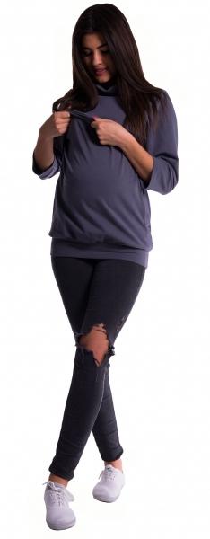 Těhotenské a kojící teplákové triko - fialové