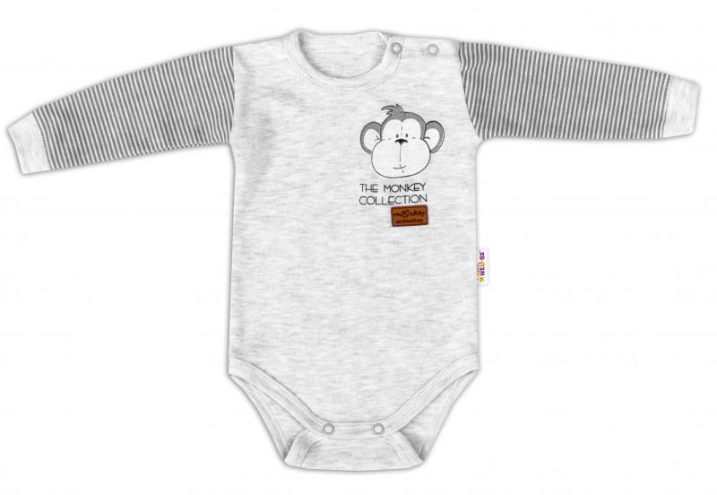 Baby Nellys Body dlouhý rukáv Monkey - sv. šedý