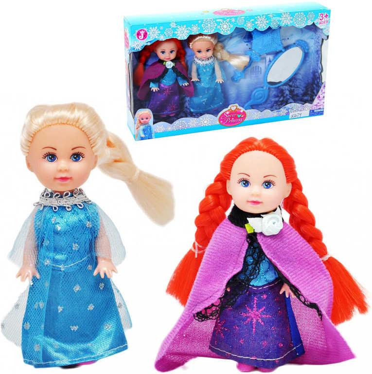 Sada 2 panenky 11cm zimní království sněhová princezna se zrcátky v krabici