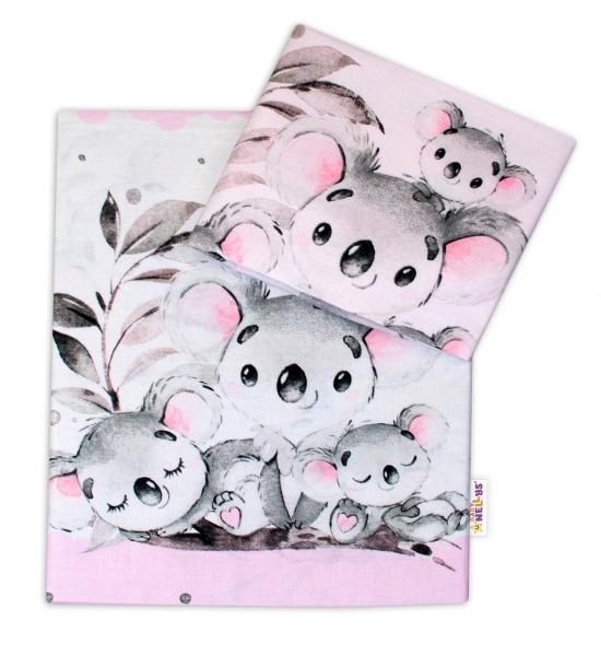 2-dílné bavlněné povlečení Baby Nellys - Medvídek Koala - růžový - 120x90