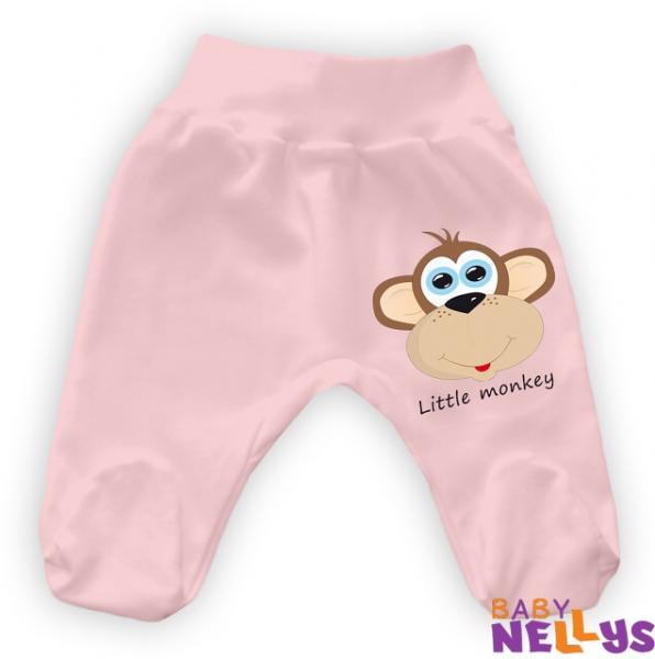Bavlněné polodupačky Little Monkey - růžové - 86 (12-18m)