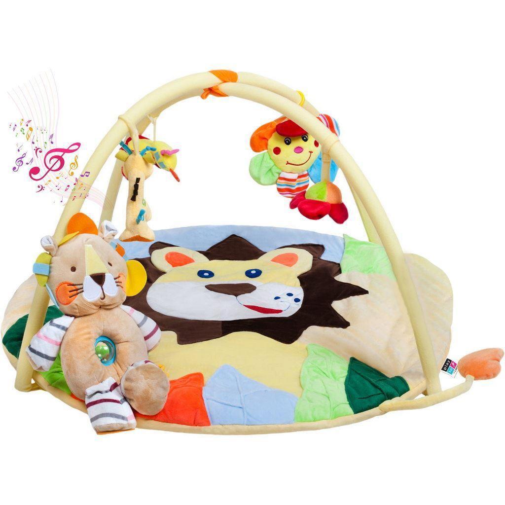 Hrací deka s melodií PlayTo lvíče s hračkou - žlutá