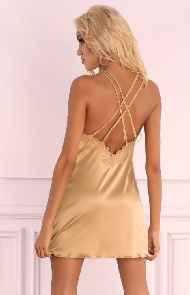 Zlatá košilka LivCo Corsetti Landim gold - Zlatá S - M