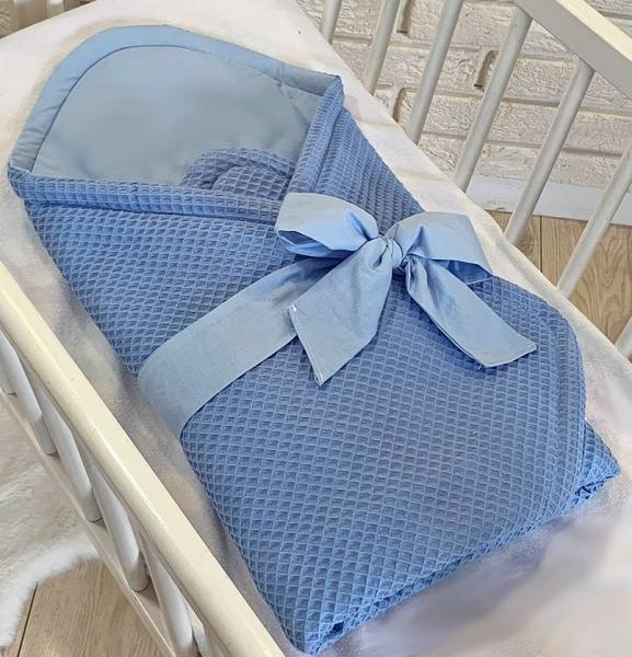 Baby Nellys Luxusní zavinovačka vaflová s mašlí 75 x 75cm - modrá