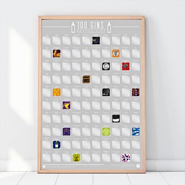 Stírací plakát - 100 ginů - objevujte neobjevené