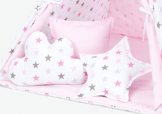 Polštáře pro stan teepee, týpí - hvězdy šedé a růžové/světle růžová