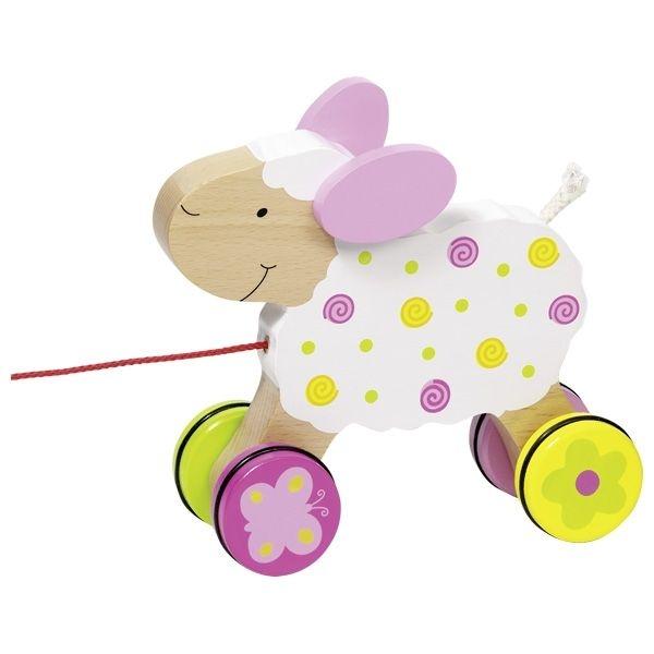 Goki Edukační dřevěná hračka 15 cm tahací - Ovečka Suzi