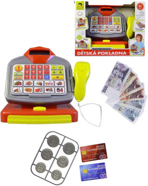 Pokladna dětská na baterie 20 cm set s penězi CZ