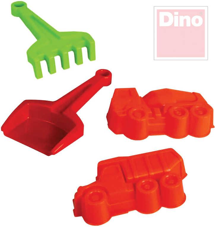 DINO Tatra malý set 4ks na písek lopatka a hrábě + 2 bábovky auta plast