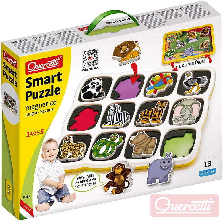 QUERCETTI Baby Smart Puzzle magnetické vkládací Džungle 12 dílků oboustranné 2v1