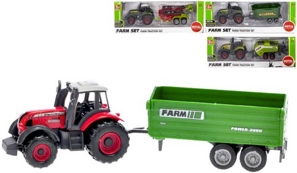 Traktor farmářský kovový 16cm set s vlečkou různé druhy
