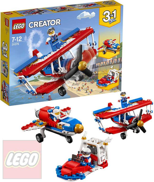 LEGO CREATOR Odvážné kaskadérské letadlo 3v1 STAVEBNICE 31076