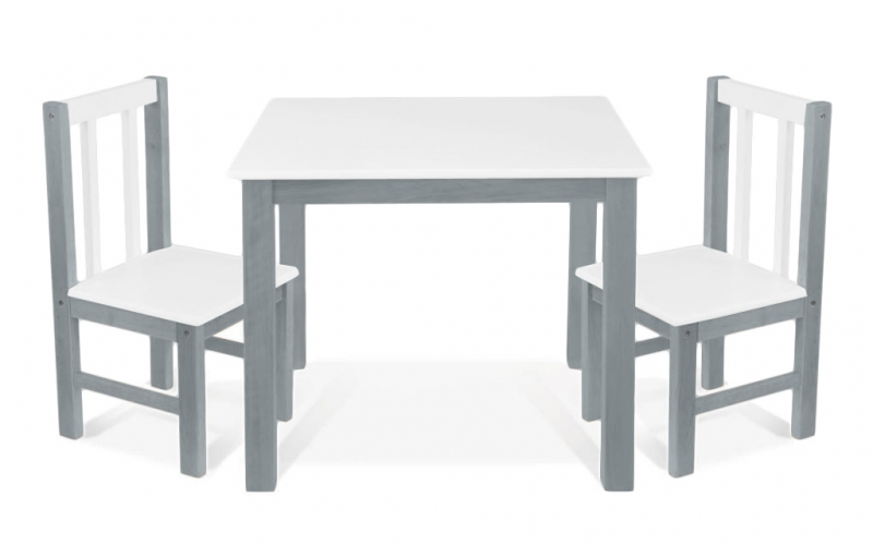 BABY NELLYS Dětský nábytek - 3 ks, stůl s židličkami - šedá , bílá, D/04