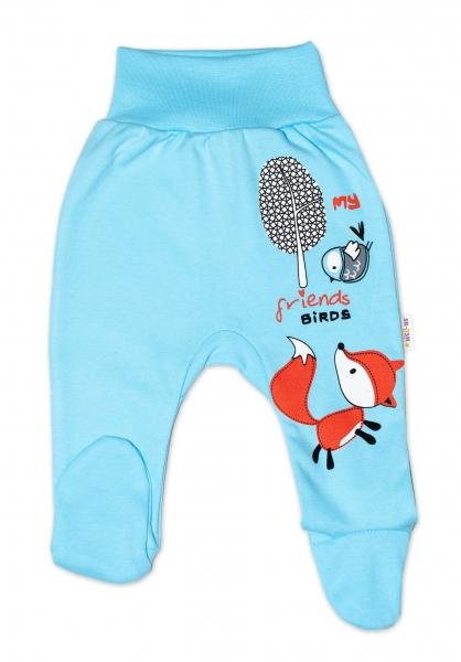 Baby Nellys Bavlněné kojenecké polodupačky, Fox - tyrkysové, vel.
