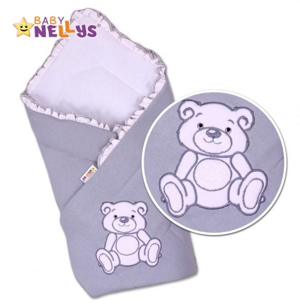 Baby Nellys Zavinovačka Teddy Bear - šedá