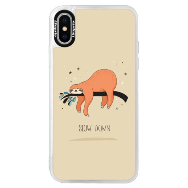 Neonové pouzdro Pink iSaprio - Slow Down - iPhone XS