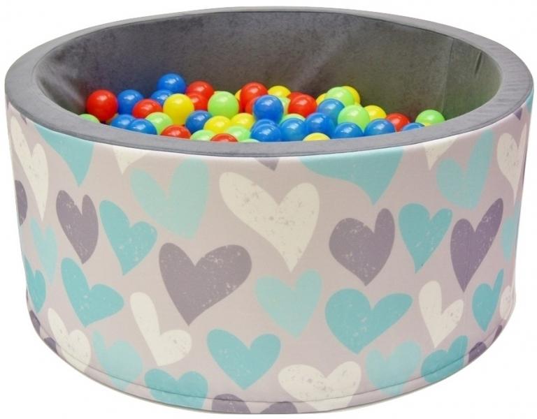 Bazén pro děti 90x40cm kruhový tvar + 200 balónků - srdíčka