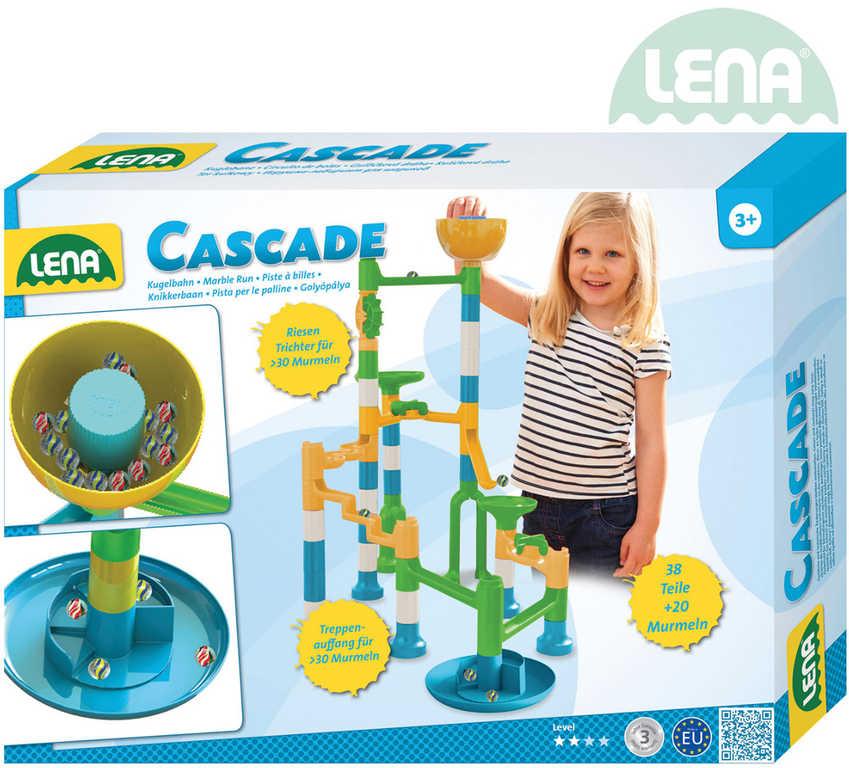 LENA Dráha kuličková Twister s XL násypkou set 39 dílků v krabici plast 65295