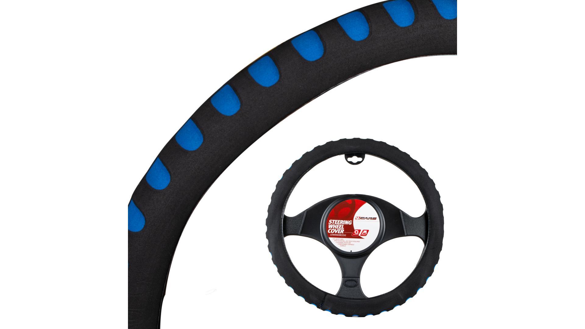 4CARS Poťah volantu penový 37-39 černo-modrý